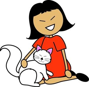 pet clipart image cartoon asian girl with a white cat on her lap rh pinterest com pet clip art free pet clipart png