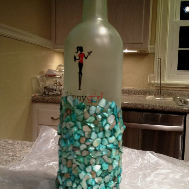 My Wine Bottle Project Into Mosaic Lantern In My Favorite Colors