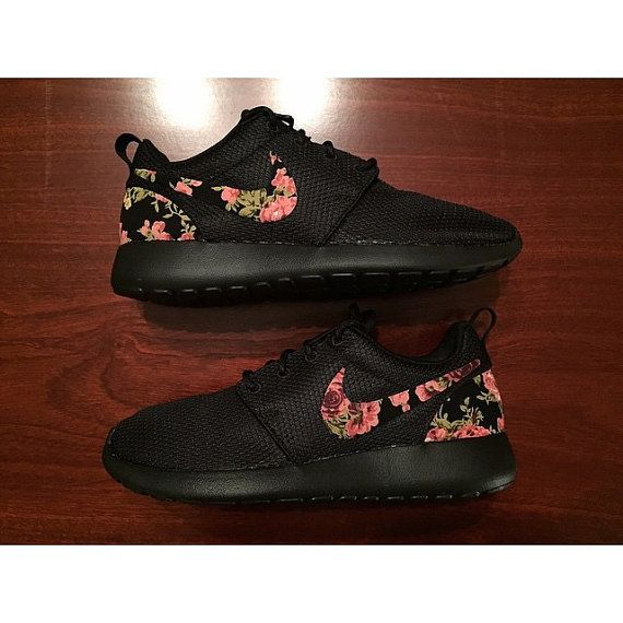 9dc20b9587d6 TRIPLE BLACK Floral Nike Roshe Run Custom Black by rixcustoms ...