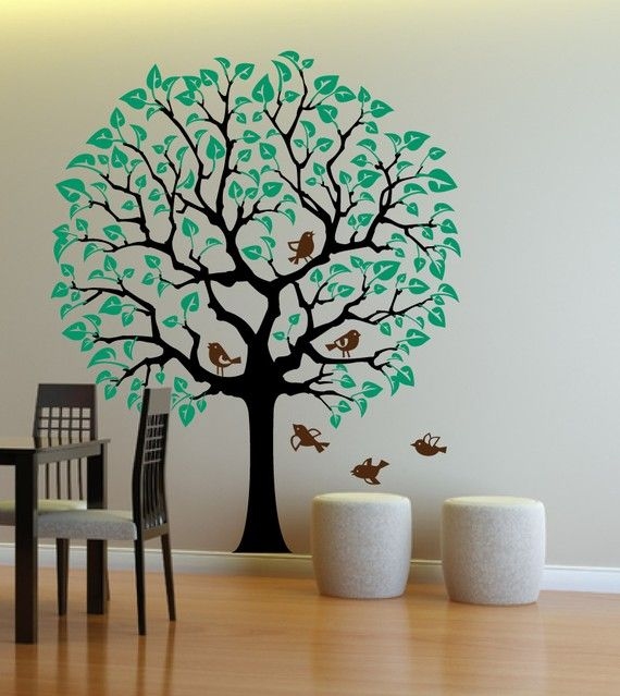 Nursery Tree Sticker Wall Decal with large crown Baby room Tree