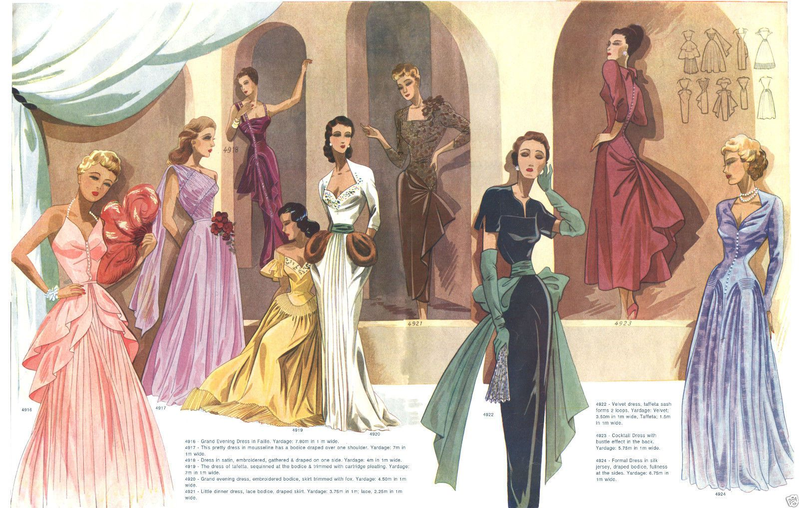 brown and black dresses...1949 Fall Eclair Coupe Paris Pattern Book Reprint Gorgeous Evening Gowns | eBay