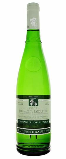 Hugues Beaulieu Picpoul de Pinet Coteaux du Languedoc.  A classic summer wine. Fresh and crisp, with a tart acidity.  A lime-infused sauvignon blanc with peaches and apricots and a very light body.  Best served extremely cold.