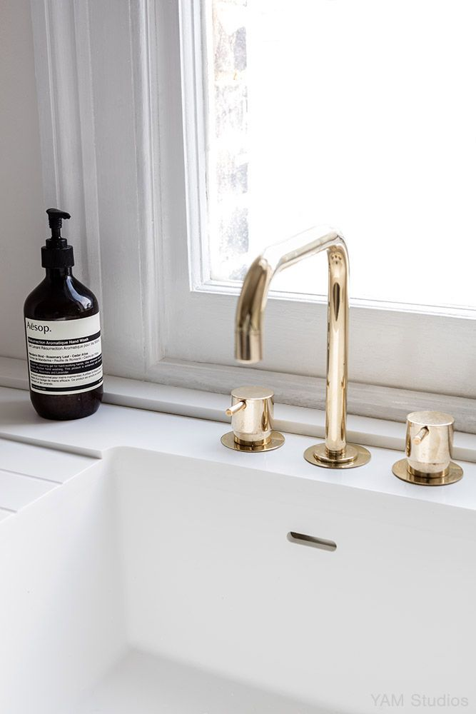 Vola Taps In Brass Interior Design Portfolio Minimal Interior Design London Kitchen