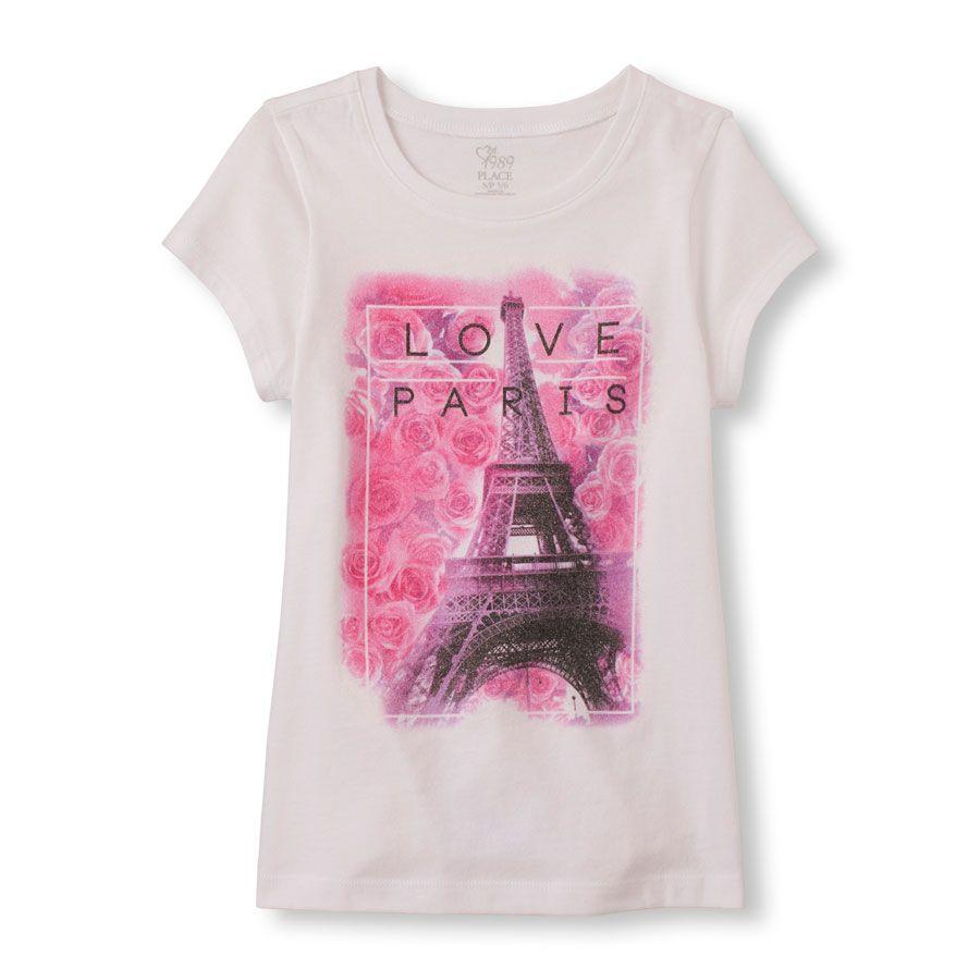 Girls Short Sleeve Love Paris Eiffel Tower Graphic Tee