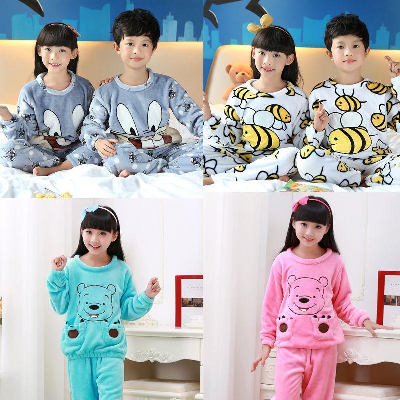 5ef6708ead 2017 Winter Children Fleece Pajamas Warm Flannel Sleepwear Girls Loungewear  Coral Fleece Kids pijamas Homewear Winter