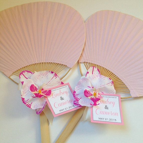 Paddle Fan With Orchid Rainbow Beach Wedding Hand Program