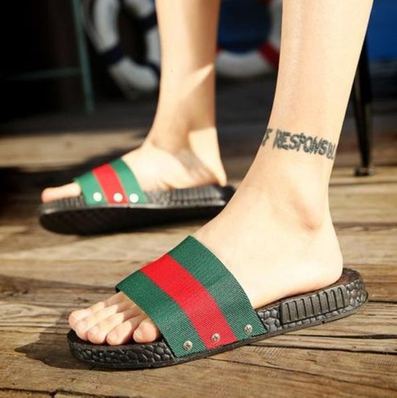 Red & Green stripes with soft grip sole. Made of ultra