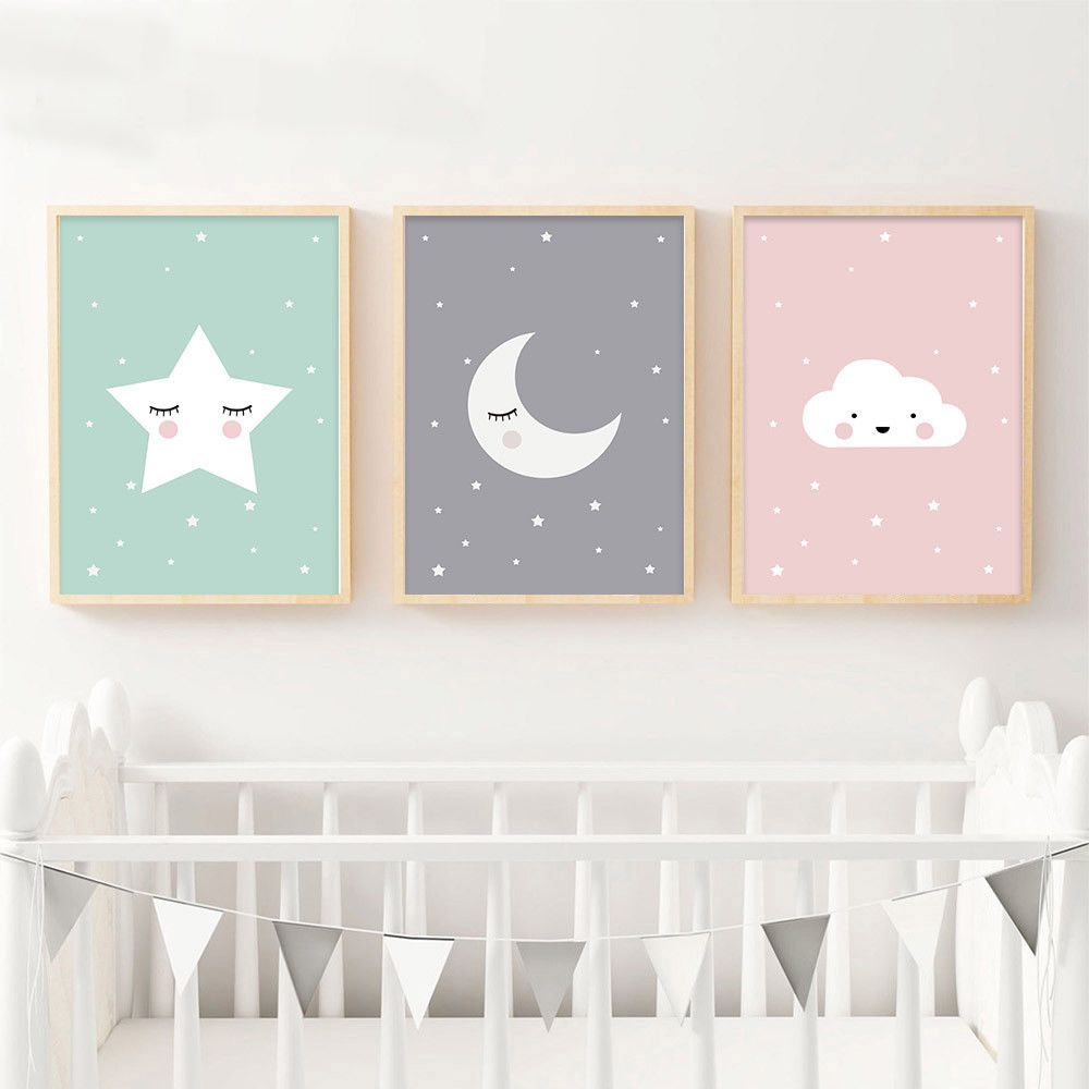 Moon Star Nursery Quote Canvas Nordic Poster Cartoon Art Prints