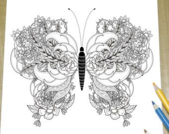 Elegant Butterfly Adult Coloring Page Print by DreamStateStudio