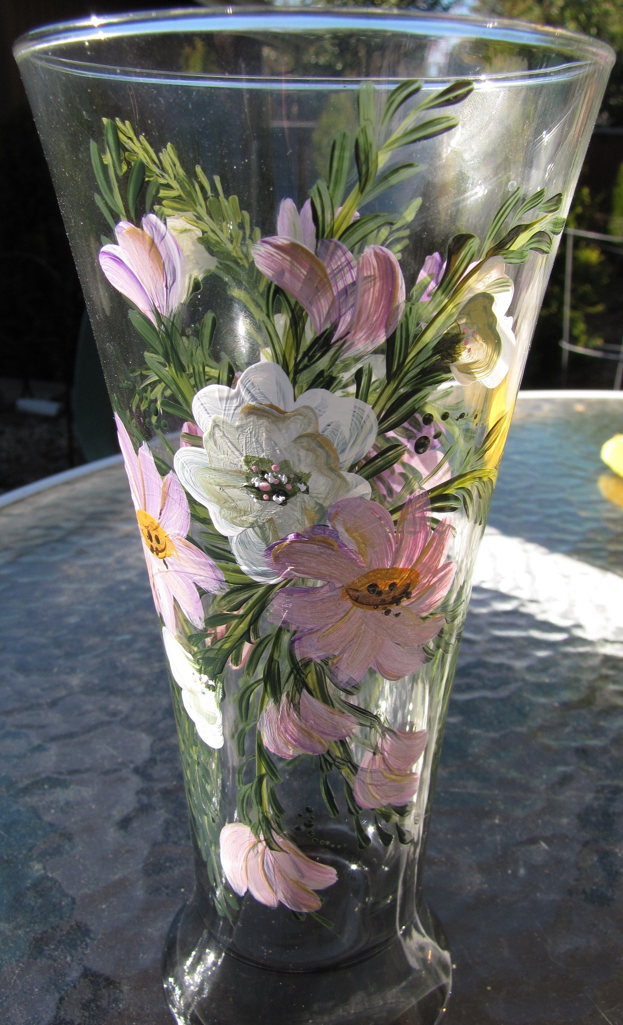 Hand painted glass beer glassvase by pat hand painted glassware hand painted glass beer glassvase by pat reviewsmspy