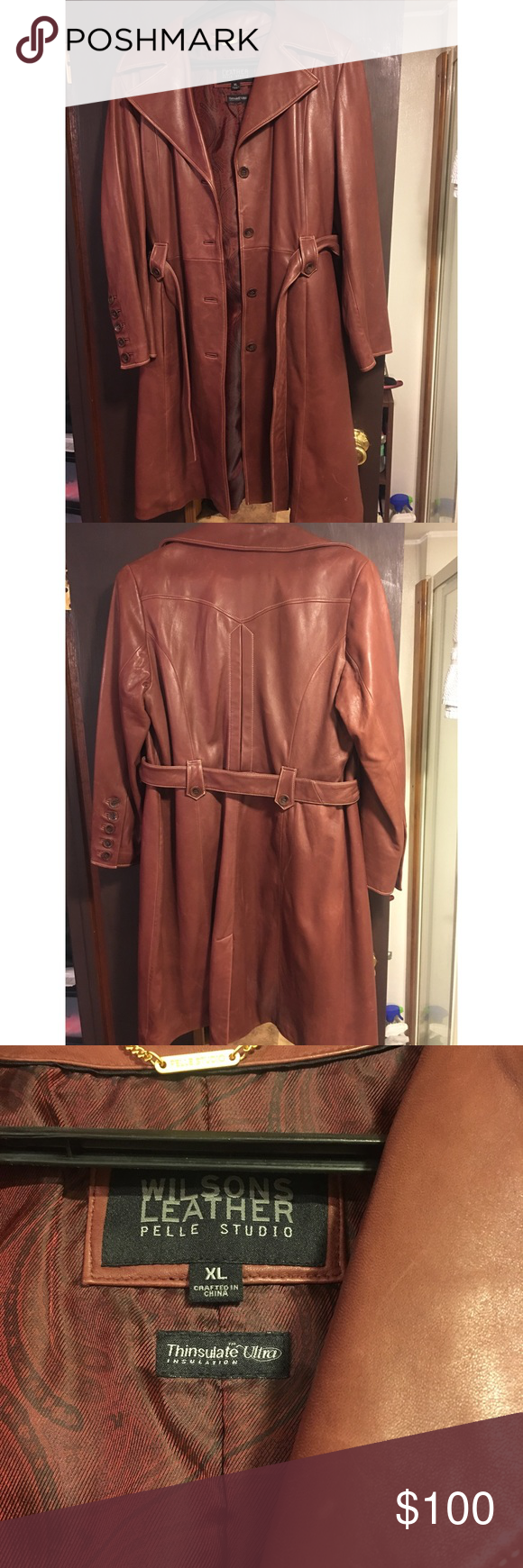 Wilsons Leather Trench Coat Wilsons Burgandy Leather Pelle
