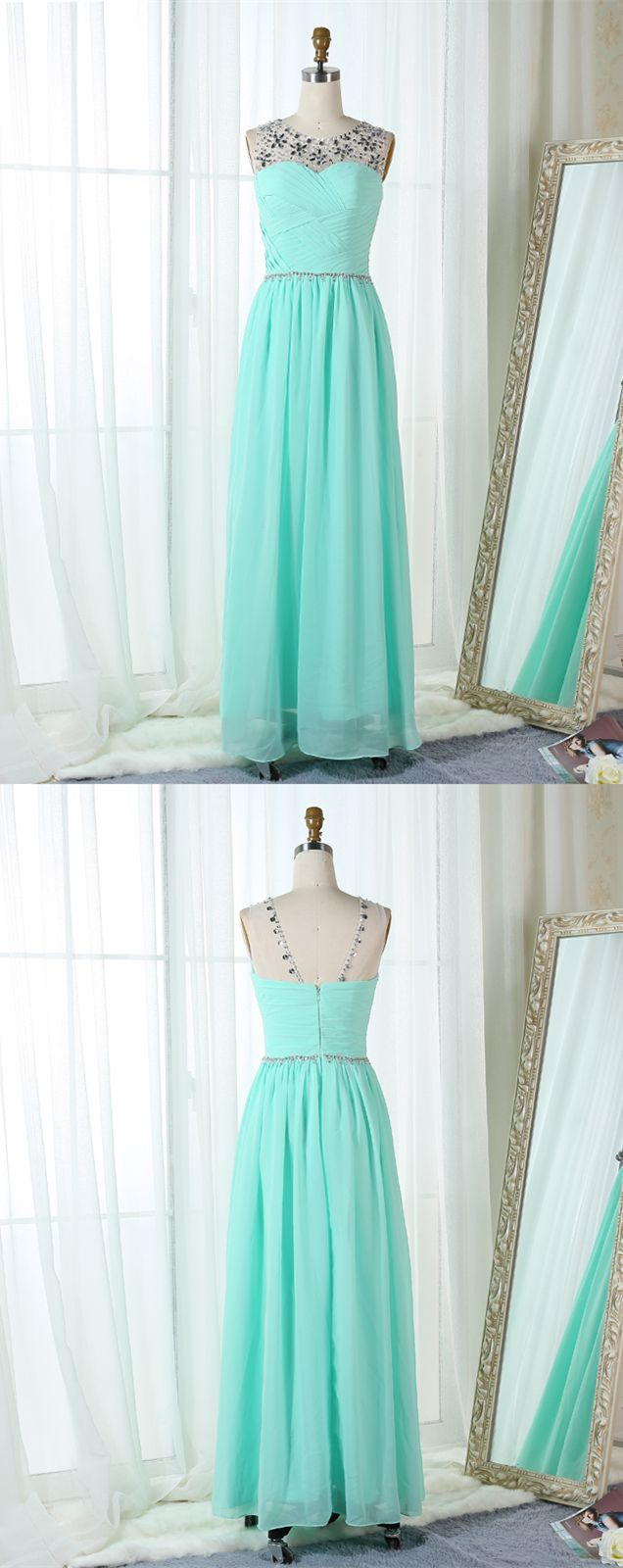 Aline bateau mint green chiffon prom bridesmaid dress with beading