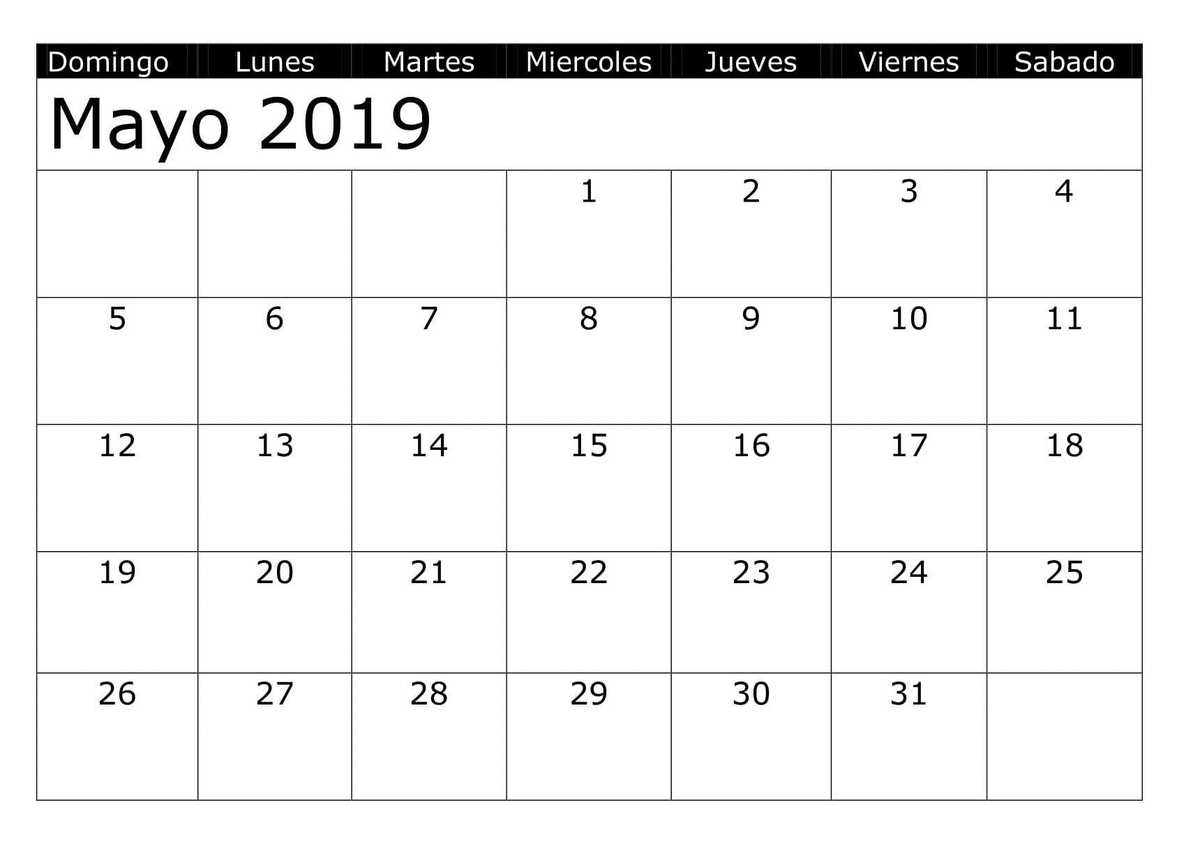 Calendario Grande.Calendario 2019 Mayo Para Imprimir Grande 200 May 2019
