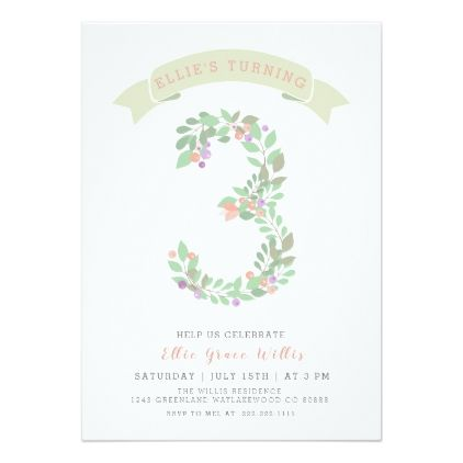 Floral Garden 3rd Birthday Party Invite Cards