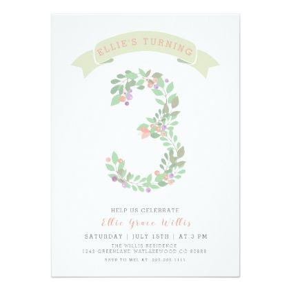 Floral garden 3rd birthday party invite stopboris Gallery