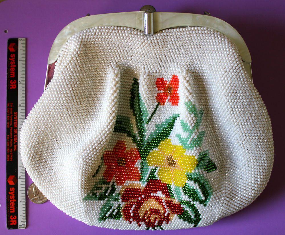 Vintage Purse Handbag Beaded Glass Beads Floral Design Plastic Lucite Detail EUC #Purse