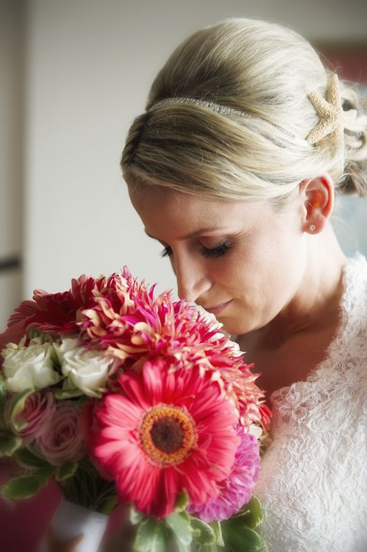 Darcy & Brian | Weddings in Tampa Bay | Bright Coral Pink and White bouquet of Gerbera Dasies, Dahlias, and Spray Roses. #andrealaynefloraldesign  #tampaweddings