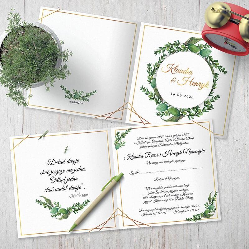 Zaproszenie Slubne Rustykalne Geometryczne Eukaliptus Zielone Liscie Wedding Invitations Invitations Wedding