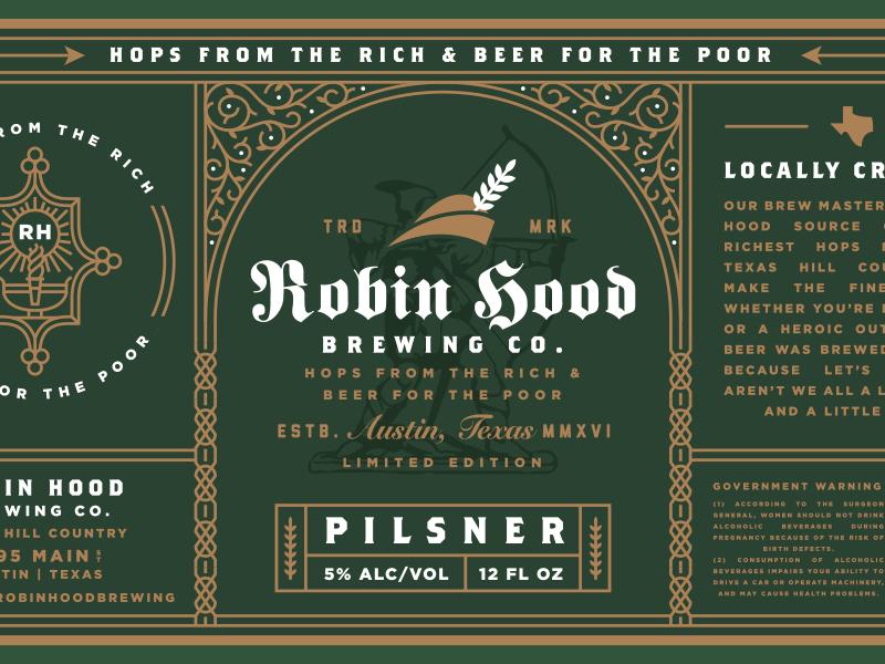 Robin Hood Brewing Co Beer Label Beer Label Beer Label Design Retro Beer Labels