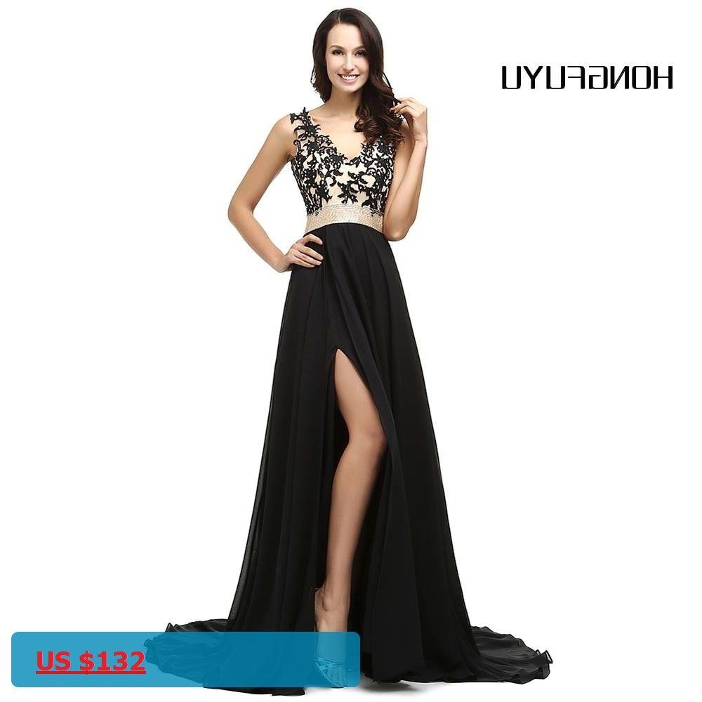 Black chiffon evening dresses formal vestido de festa longo