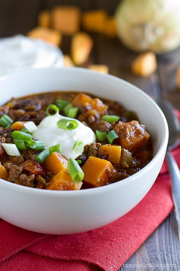 Butternut Squash Chili With Beef Taste And Tell Recipe Butternut Squash Chili Recipes Beef Recipes