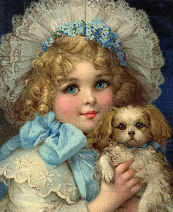 illustr.quenalbertini: Beautiful Edwardian Girl with Her Puppy | Frances Brundage