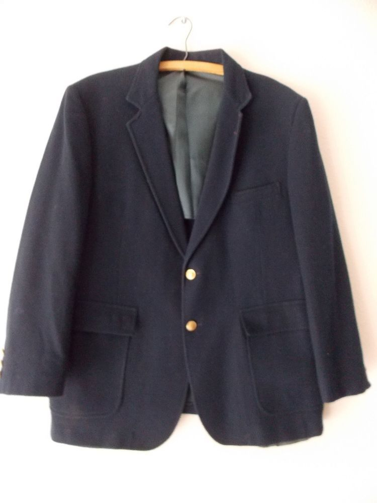 Wool Blazer Size 44 Short Blue Suit Jacket Vintage 80s Sportscoat ...