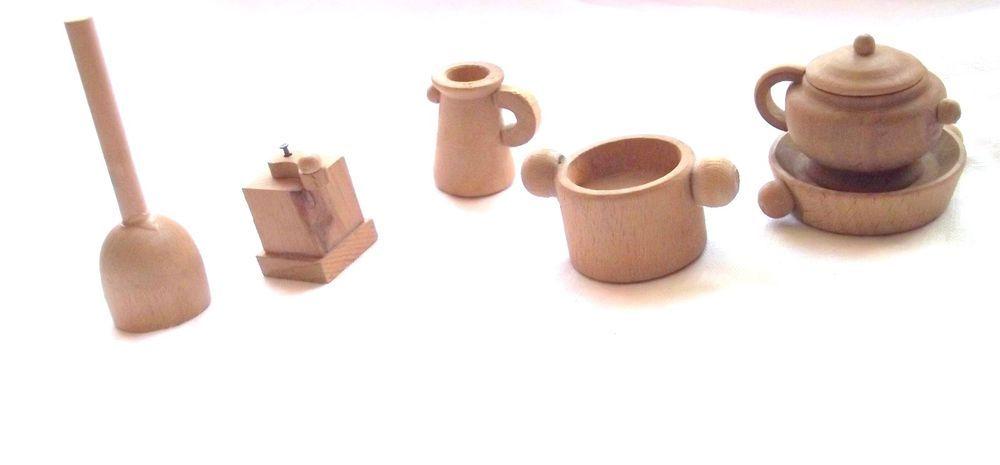 Vintage Dollhouse Miniature Wood Teapot, Cooking Pot, Churner, Jug