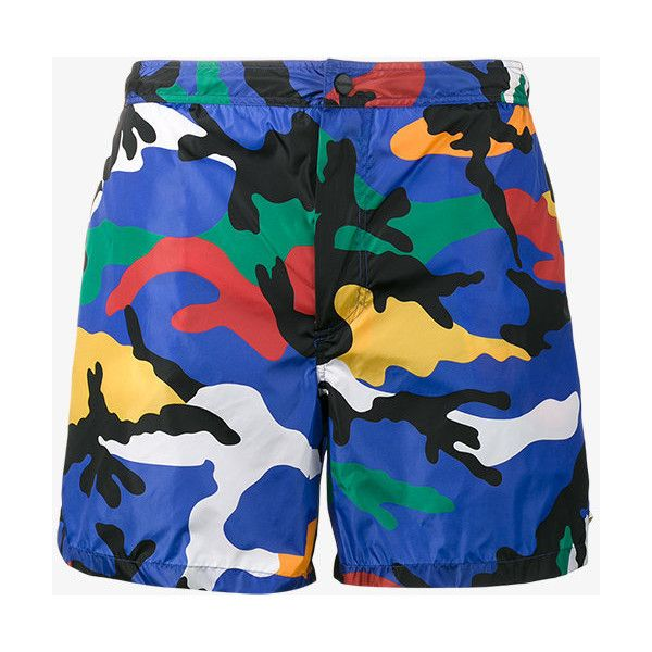 f7a516e811 Valentino Camouflage Print Swim Shorts ($455) ❤ liked on Polyvore featuring  men's fashion, men's clothing, men's swimwear, multicolour, camouflage swim  ...