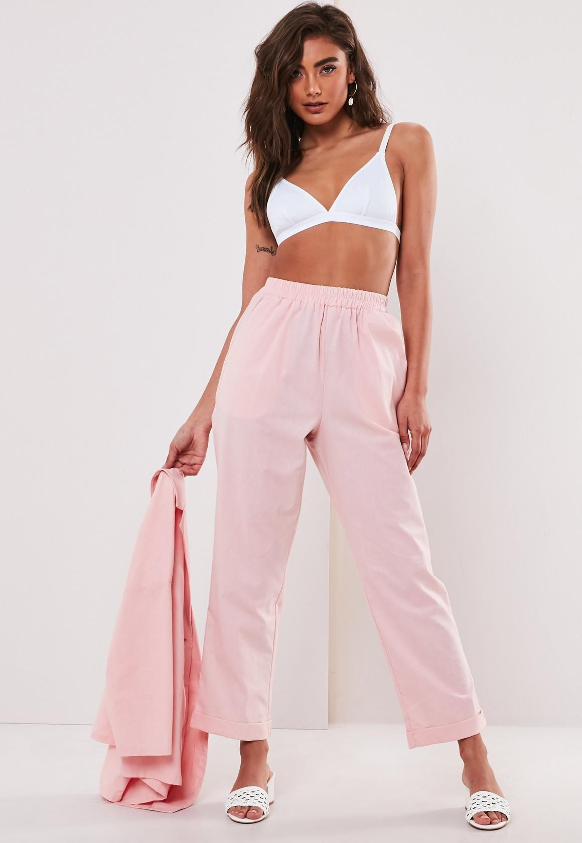3b472bab8aae Women Popular Pink Co Ord Linen Cigarette Pants | It could be the perfect  match for
