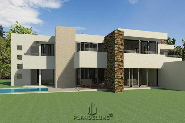 Double Story 4 Bedroom House Plan Modern House Plans Plandeluxe In 2020 4 Bedroom House Plans Modern House Plans Architectural House Plans
