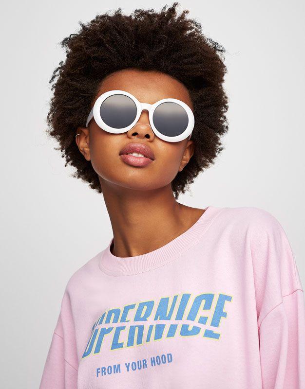 Pull&Bear - mujer - novedades - sudadera crop color texto - rosa claro - 05592372-V2017