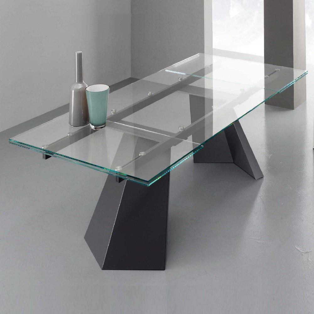 Tavolo Vetro Trasparente Allungabile.Eurosedia Tavolo Pechino Allungabile In Vetro Trasparente