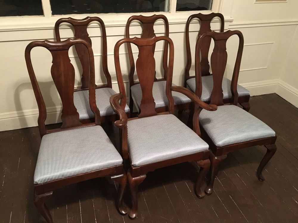 Set of 6 Ethan Allen Georgian Court Queen Anne Dining Chairs With Table  Cherry - Set Of 6 Ethan Allen Georgian Court Queen Anne Dining Chairs With