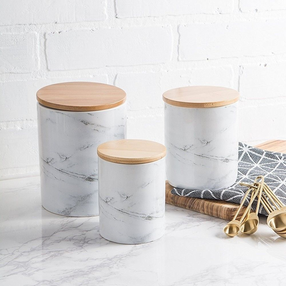 Marble Ceramic Canister Set 3 White Marble Modern Kitchen
