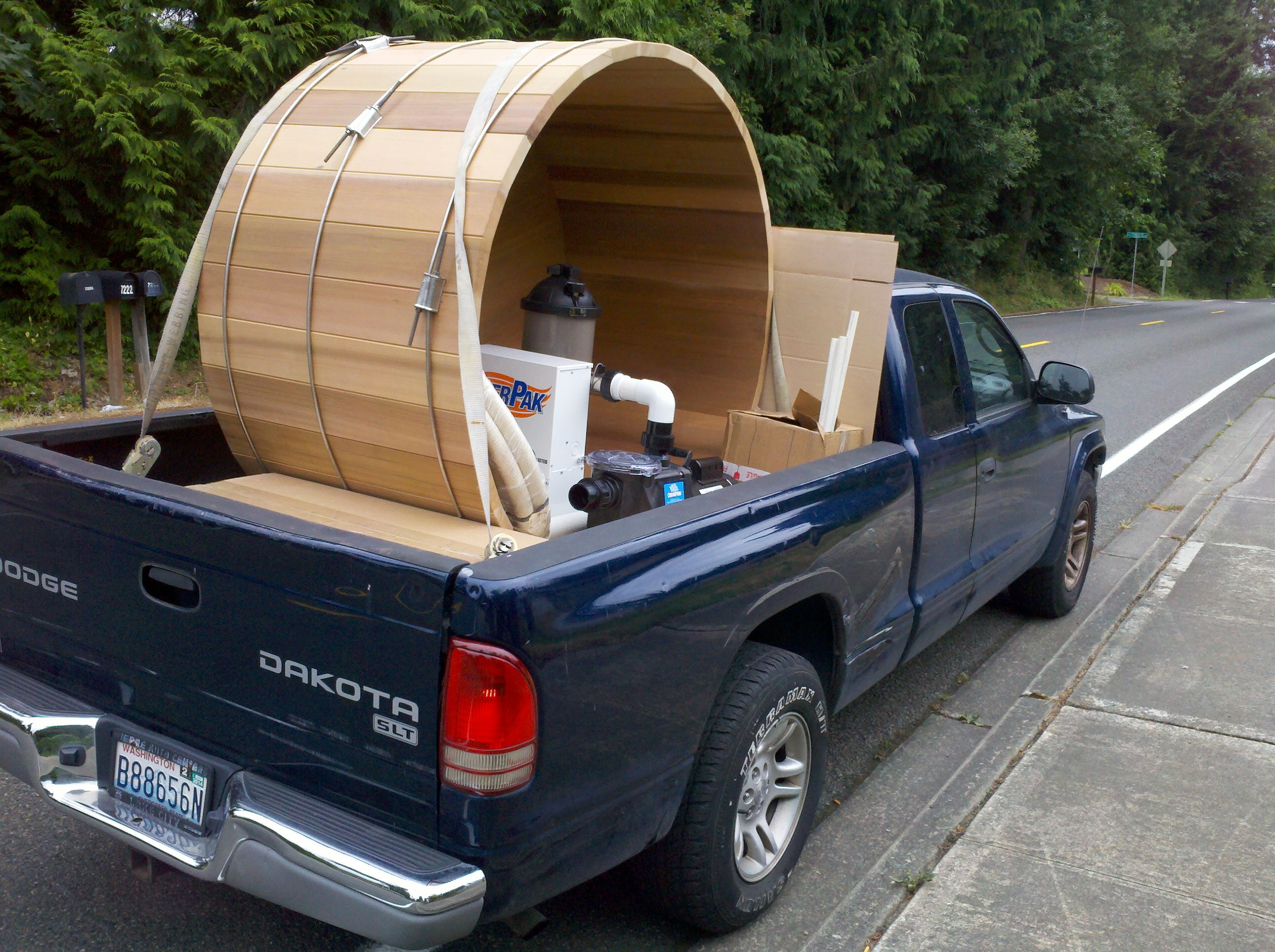 6 Diameter X 3 High Wood Barrel Hot Tub With Power Pak Being