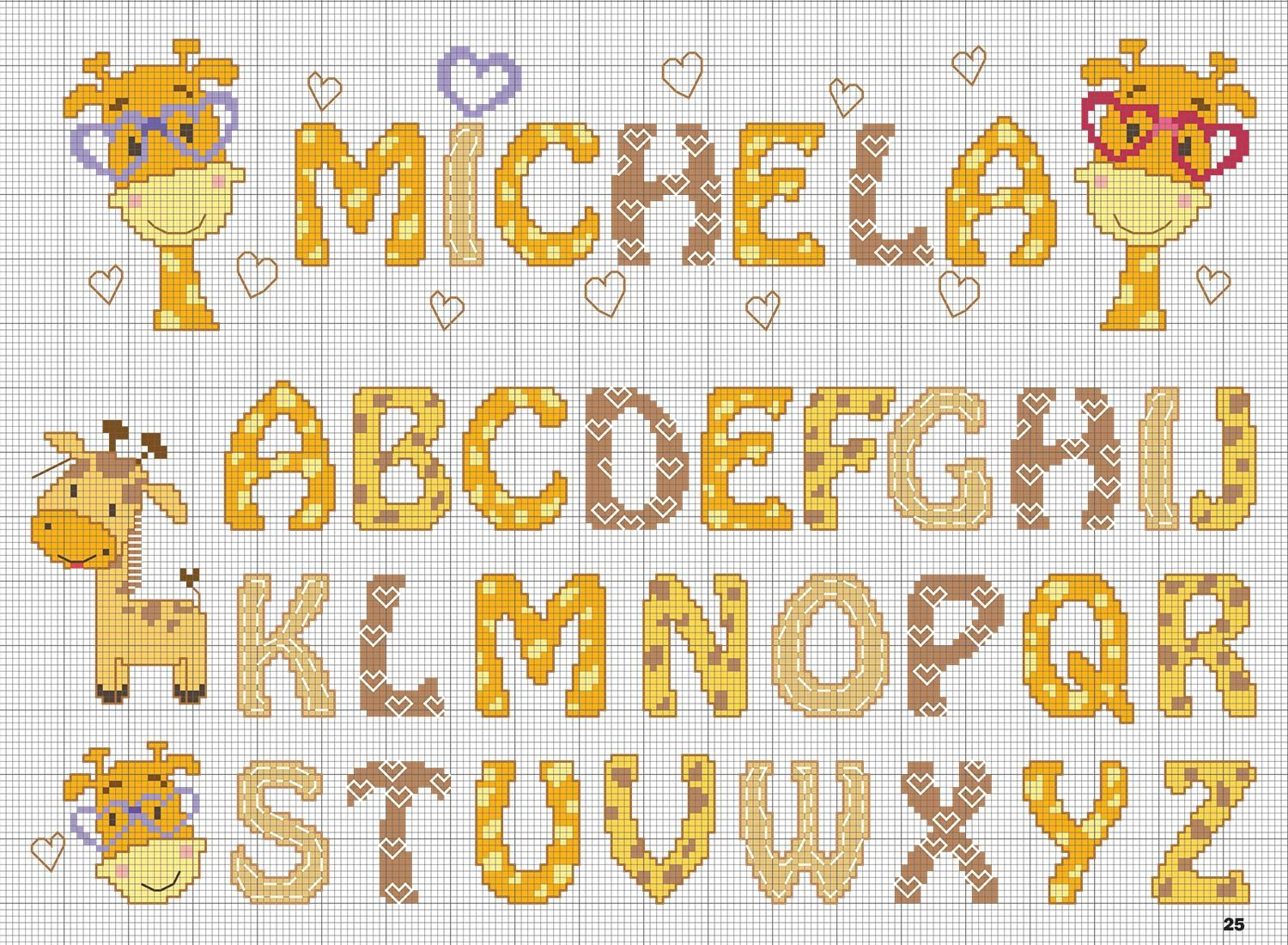 Mpc 51 speciale asilo c8mpc51 cross stitch stitch and for Lettere a punto croce schemi