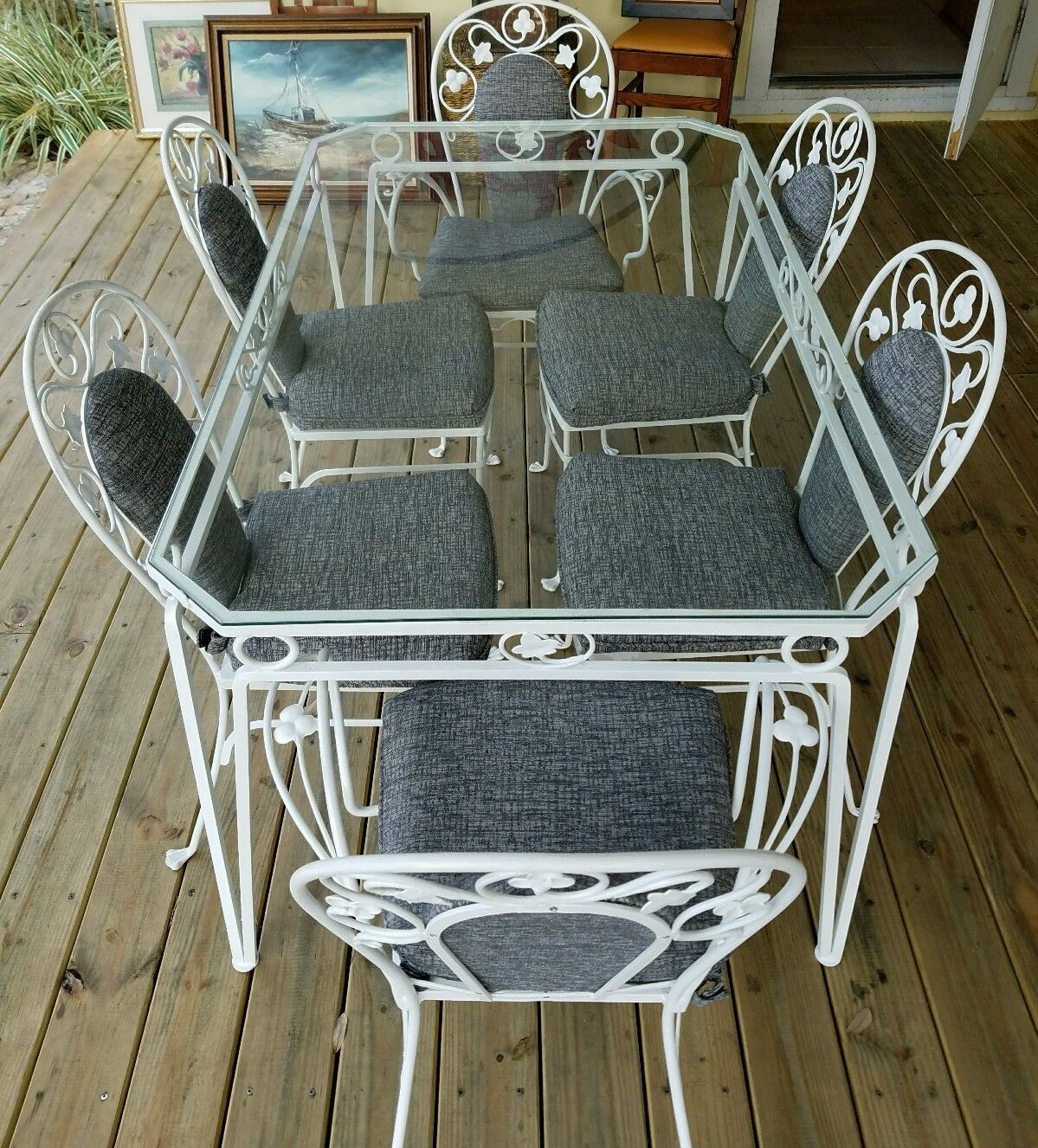 Vintage Salterini White Wrought Iron Table and Chair Set of 7 ...