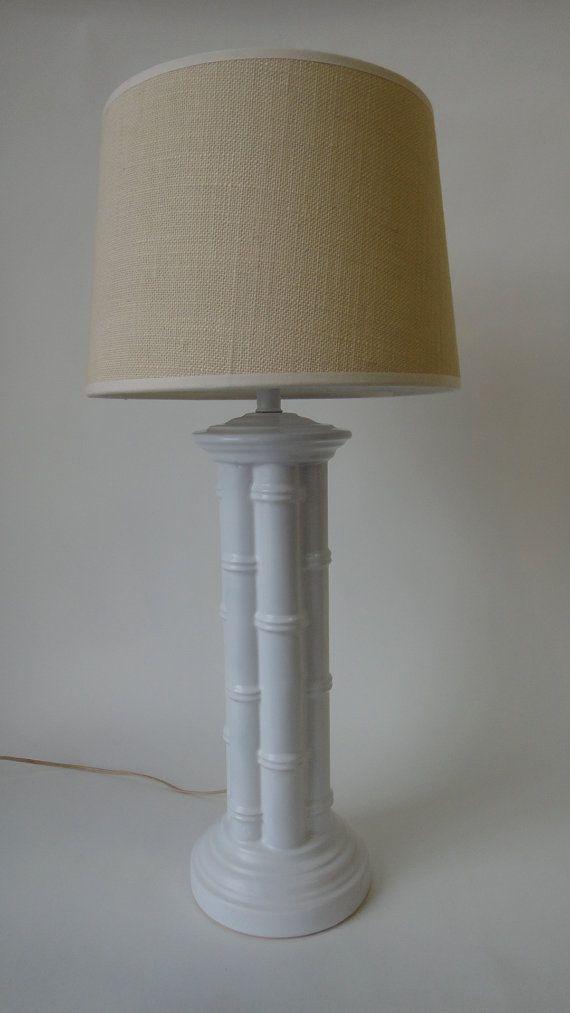 White Faux Bamboo Lamp Ceramic Palm Beach Etsy Bamboo Lamp Faux Bamboo Lamp