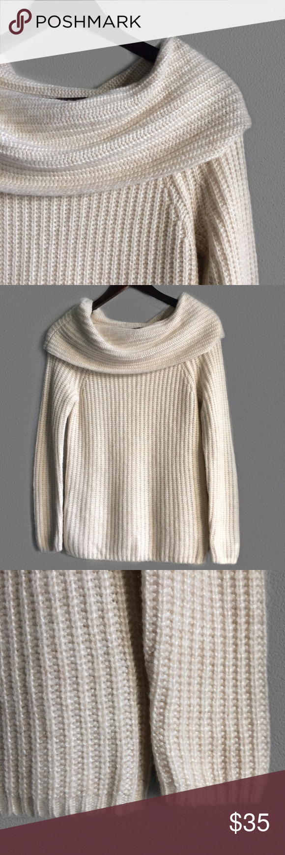 WHBM Cream Ribbed Cowl Neck Sweater | Cowl neck, White house black ...