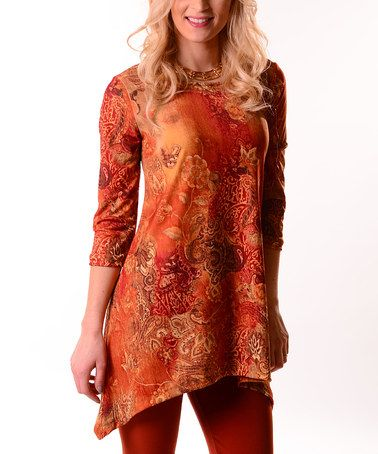 a77fb854cc6 Orange   Red Rusted Paisley Sidetail Tunic - Plus  zulily  zulilyfinds