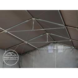 8×16 m Zelthalle – 3,0 m Seitenhöhe mit Reißverschlusstor, Pvc 550 g/m² grau | mit Statik (Betonunte