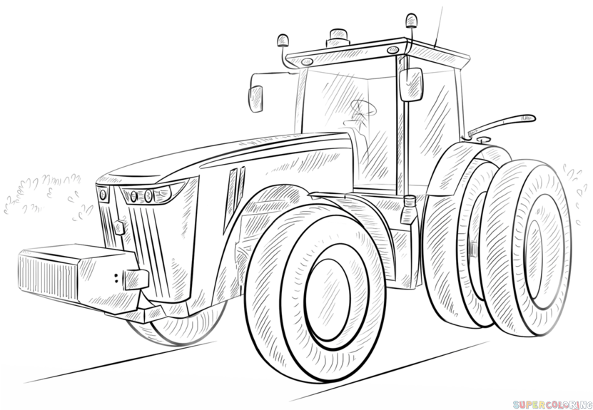 How to draw a tractor step by step. Drawing tutorials for