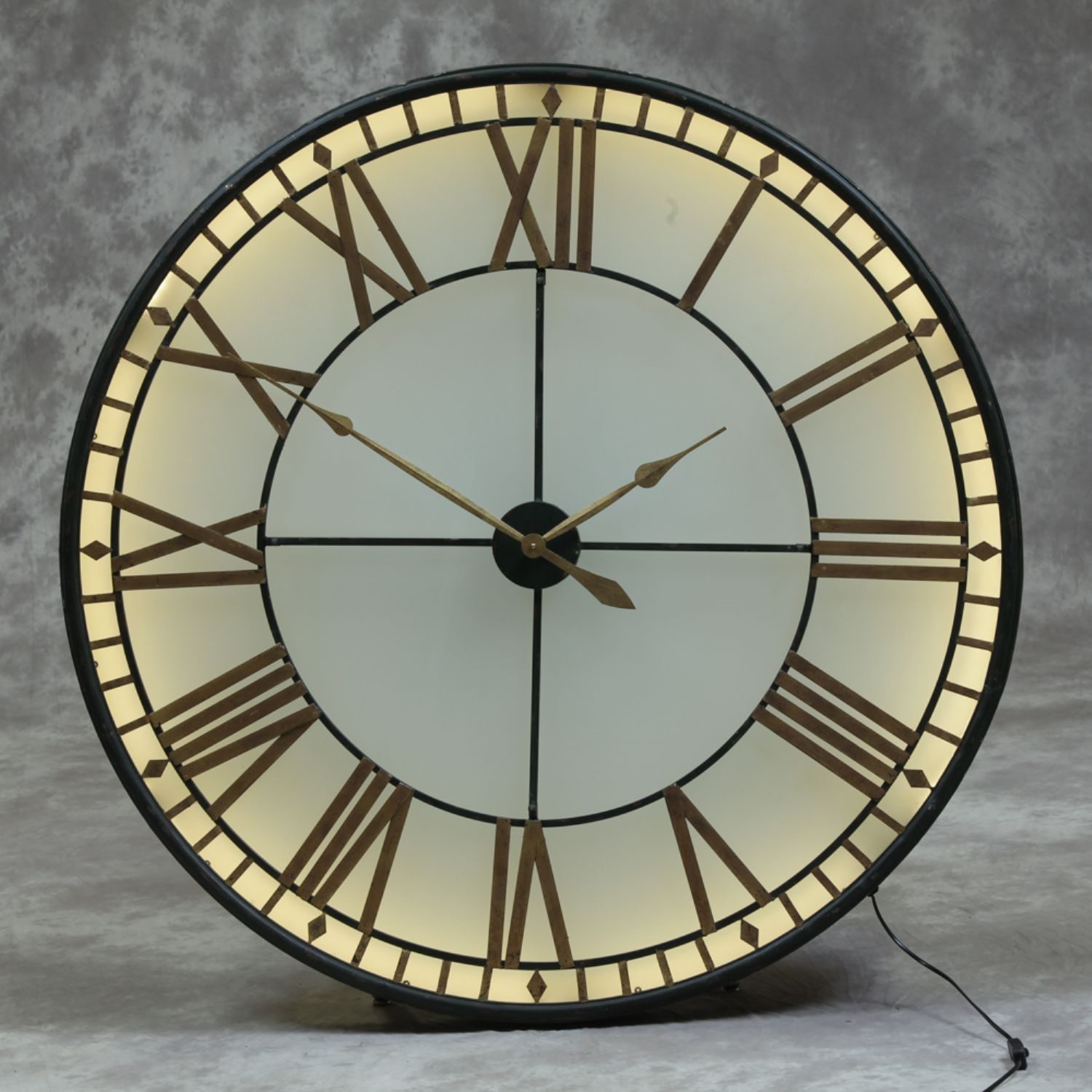 Large Round Black Gold Westminster Wall Clock Back Lit Glass Led 120cm Diameter Big Wall Clocks Extra Large Wall Clock Mirror Wall Clock