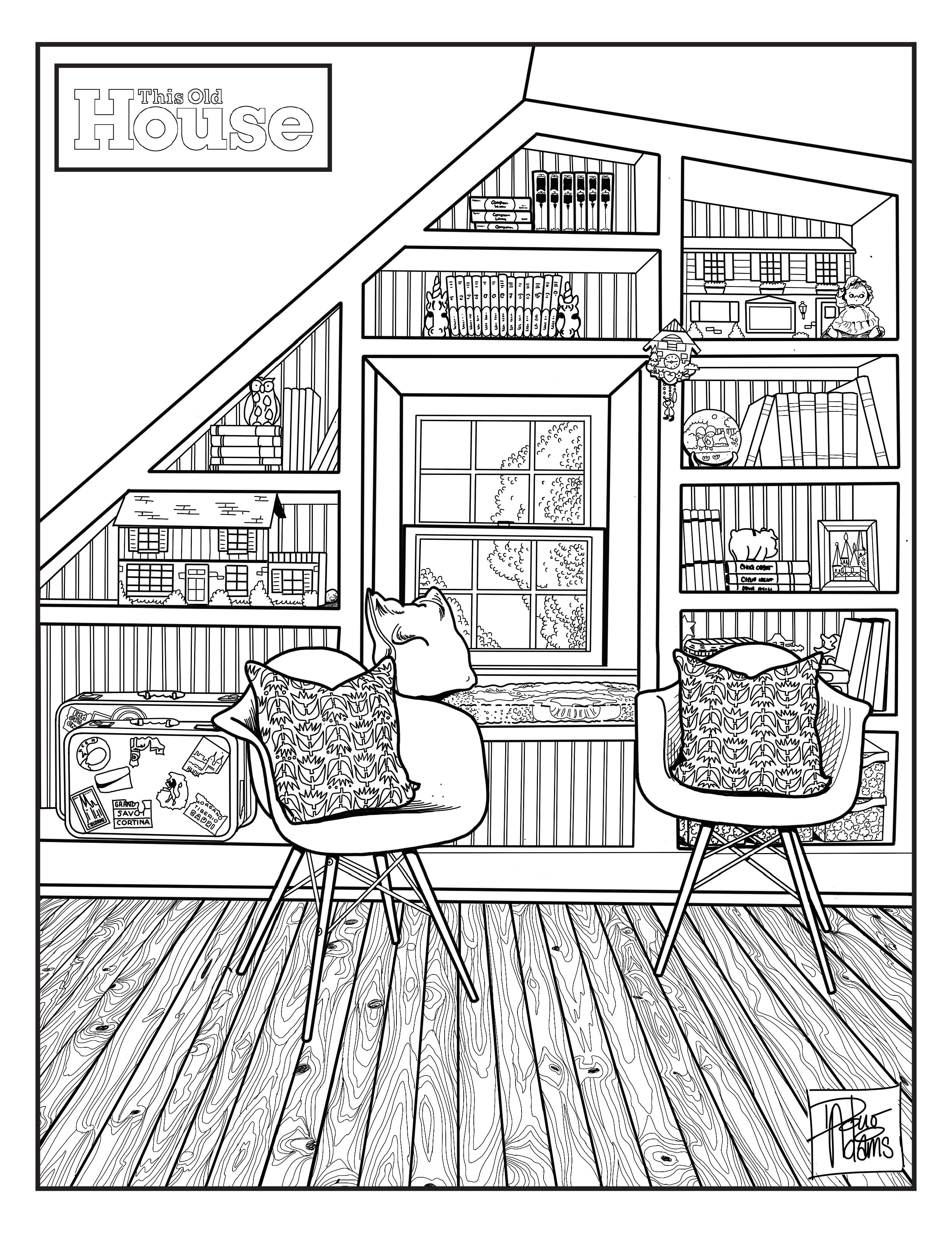TOH Coloring Page House, home magazine, Old houses