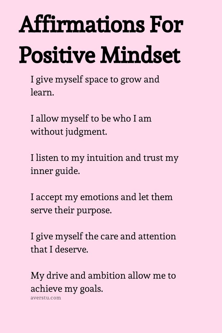 Affirmations for positive mindset