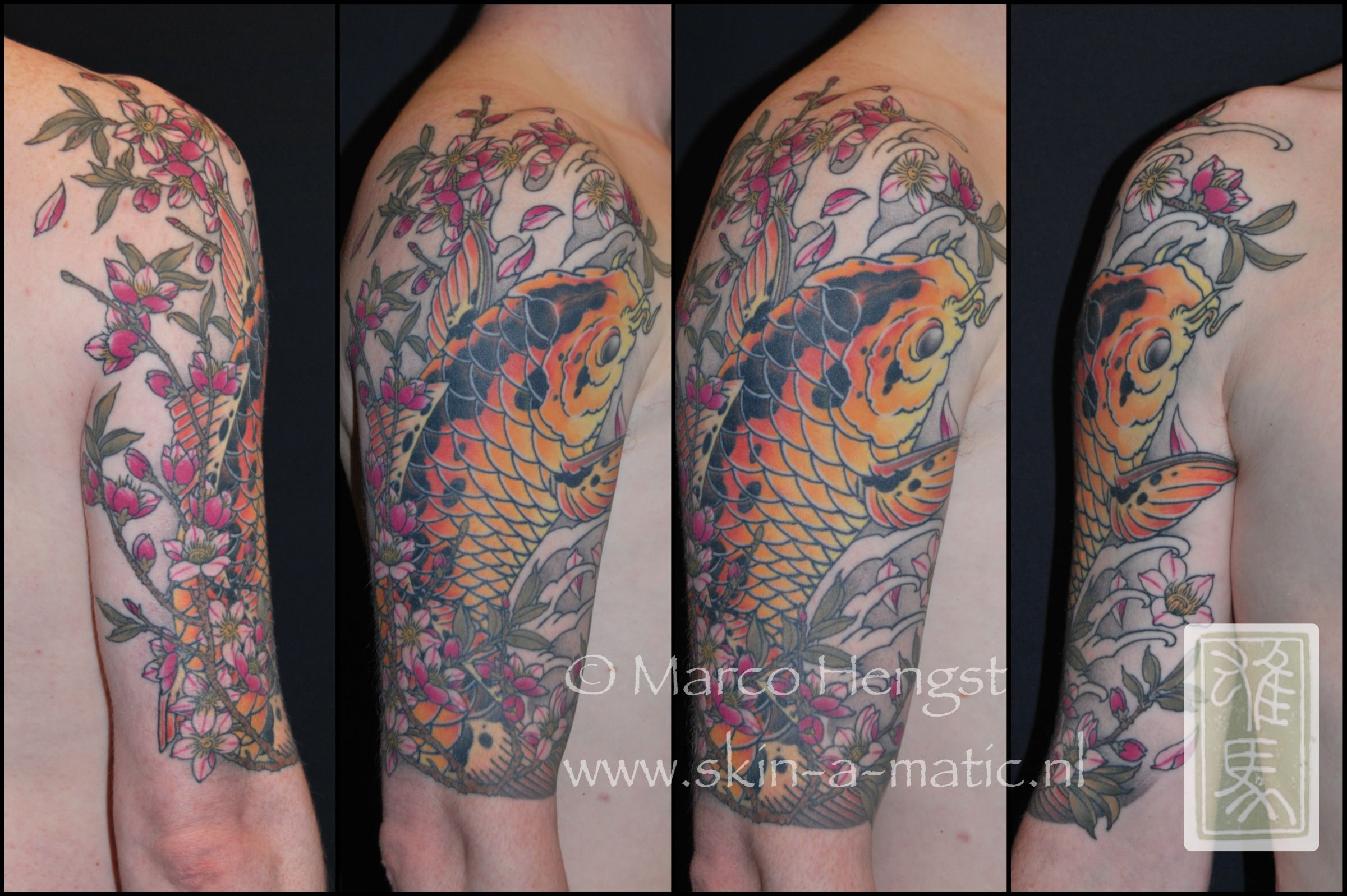 Japanese calf tattoos by durb - Japanese Koi Tattoo Halve Sleeve Done By Marco Hengst At Skin A Matic