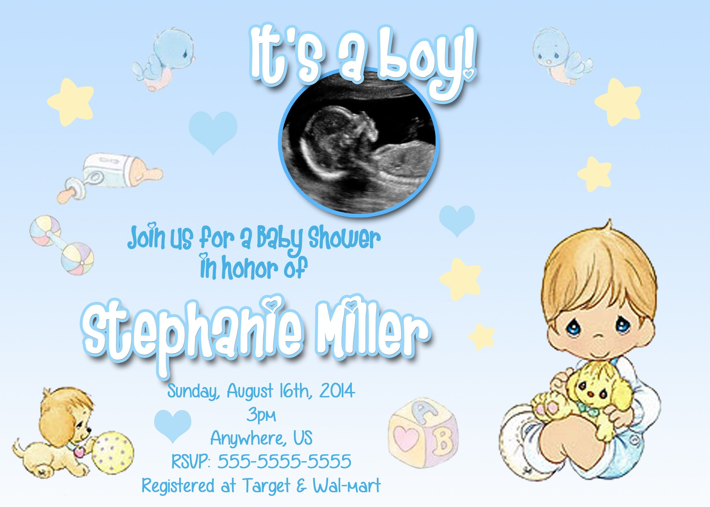 Its A Boy Precious Moment Baby Shower Invitations $899