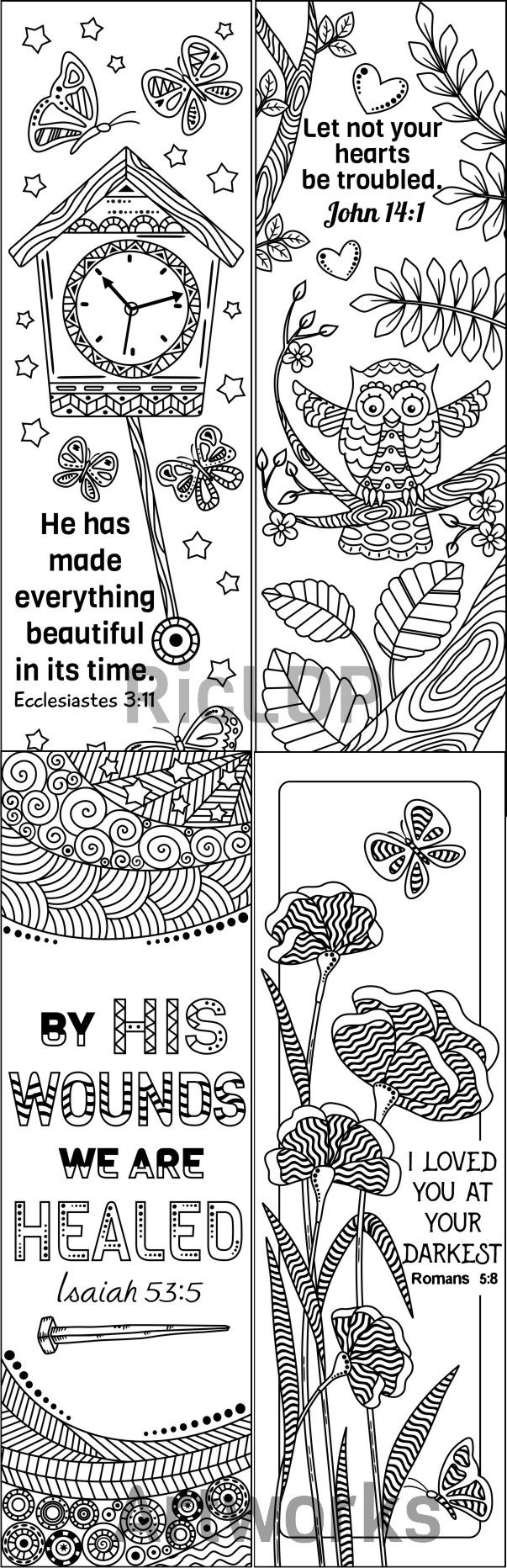 8 Printable Bible Verse Coloring Bookmarks; Coloring Doodle ...