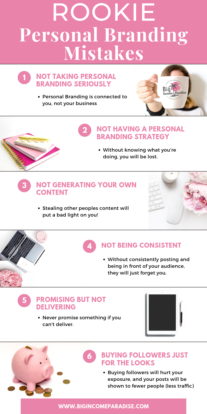 Personal Branding for entrepreneurs is super important. It's one of the keys to your online success. So if you do these Personal Branding mistakes, you can actually hurt your business and your reputation. To avoid destroying your business and brand, check out which Personal Branding mistakes you should avoid at all cost. #bigincomeparadise  #personalbranding #branding #womaninbusiness #brandyourbusiness #brandingtips